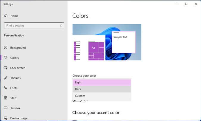 chọn chủ đề tối cho menu bắt đầu của windows 11