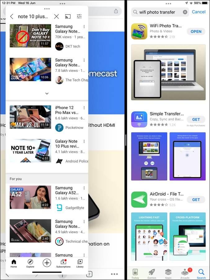 Tách và Trượt qua Xem iPad