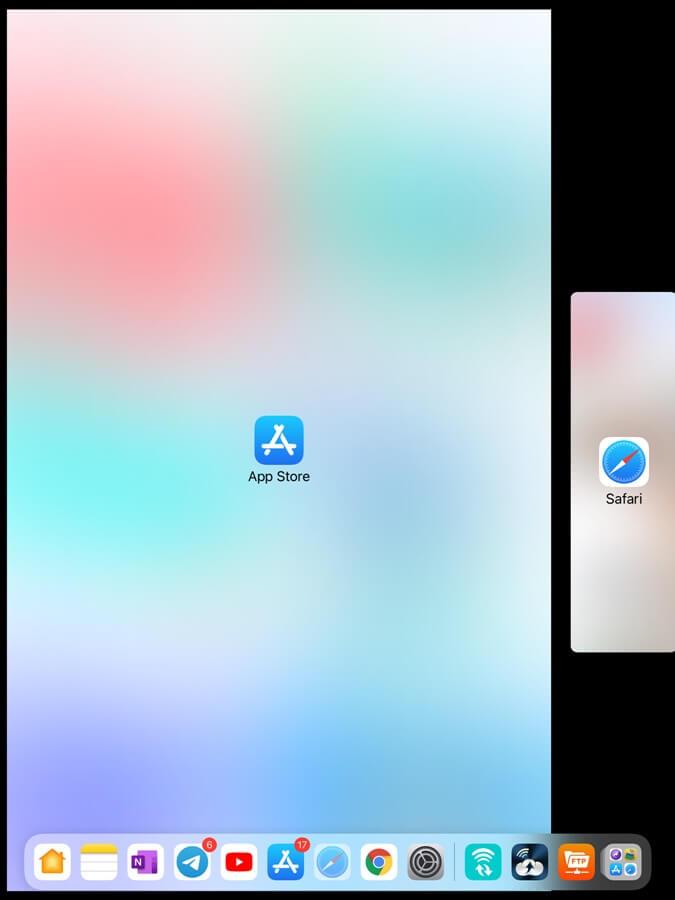 đưa các ứng dụng vào Split View iPad
