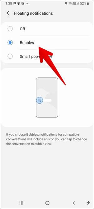Thông báo bong bóng của Samsung