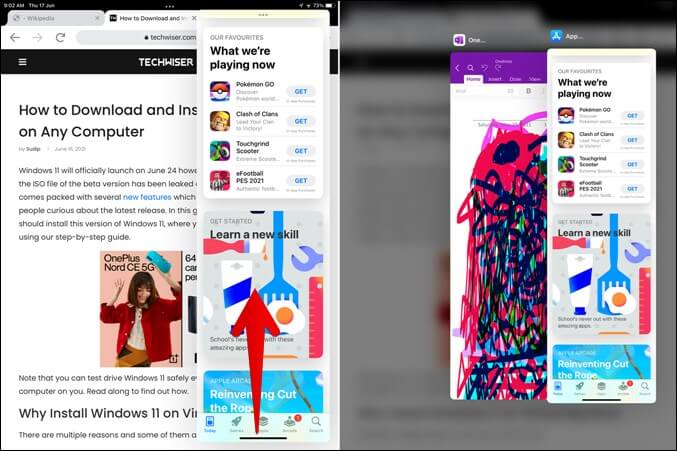 Xem các ứng dụng trong Slide Over View iPad