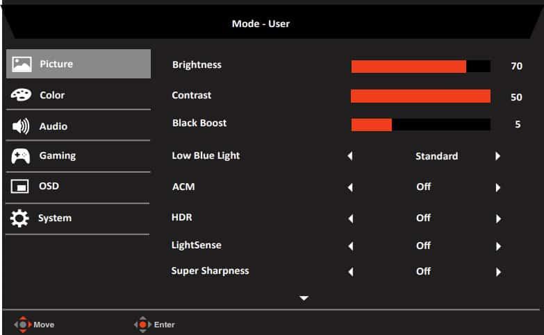 Bố cục menu OSD của Acer XV282KKV