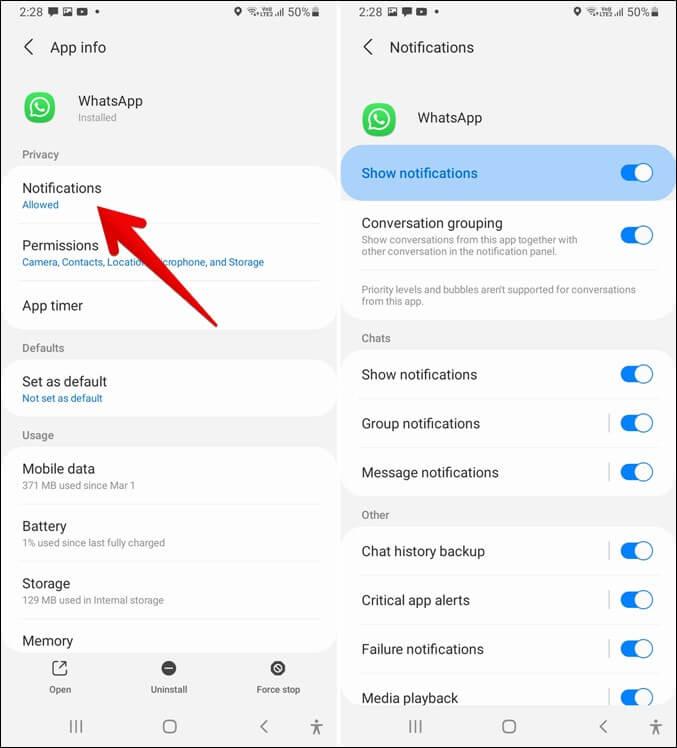 Thông báo bật lên của Samsung WhatsApp