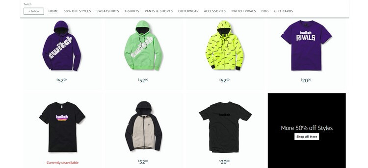 Chụp màn hình cửa hàng trực tuyến của Twitch trên Amazon, bán áo hoodie làm hàng hóa