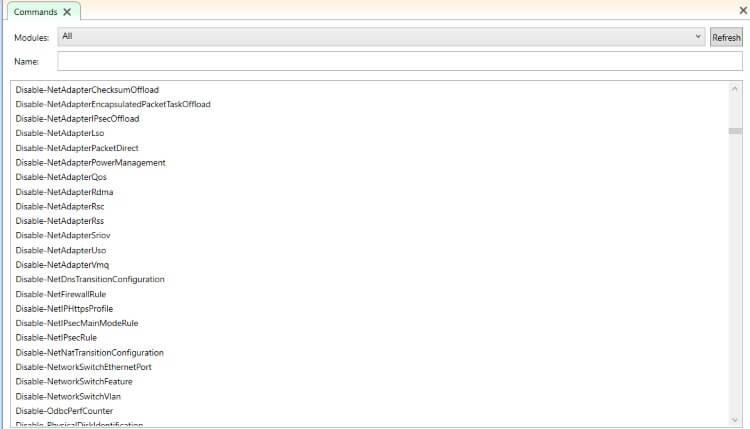 Hình ảnh các tùy chọn lệnh ghép ngắn PowerShell