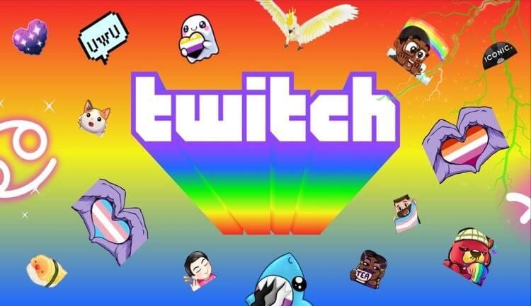 Tiêu đề cầu vồng của Twitch với hoạt ảnh trong nền