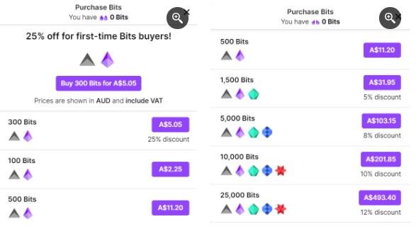 Chụp màn hình bảng giá Bits trên Twitch