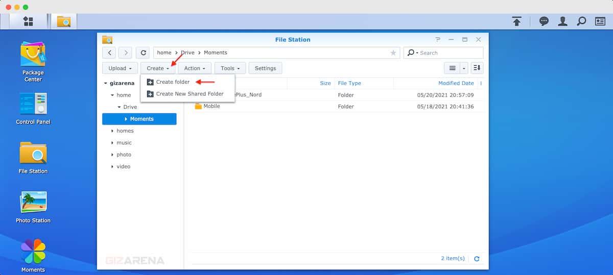 Tạo một thư mục trong File Station