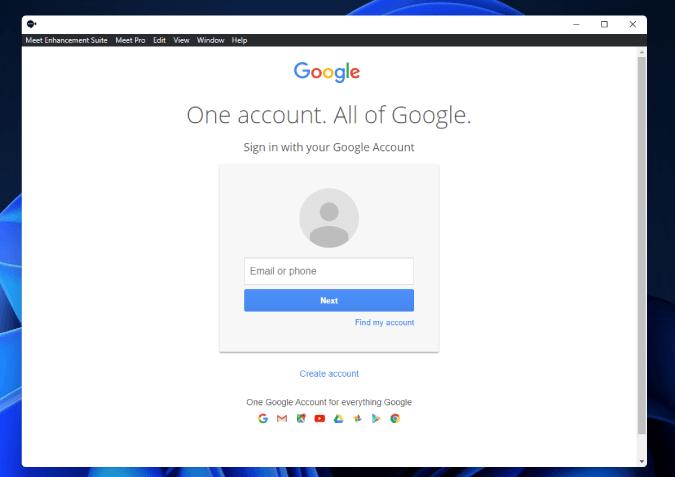 Đăng nhập vào tài khoản Google trên ứng dụng Meet Enhancement