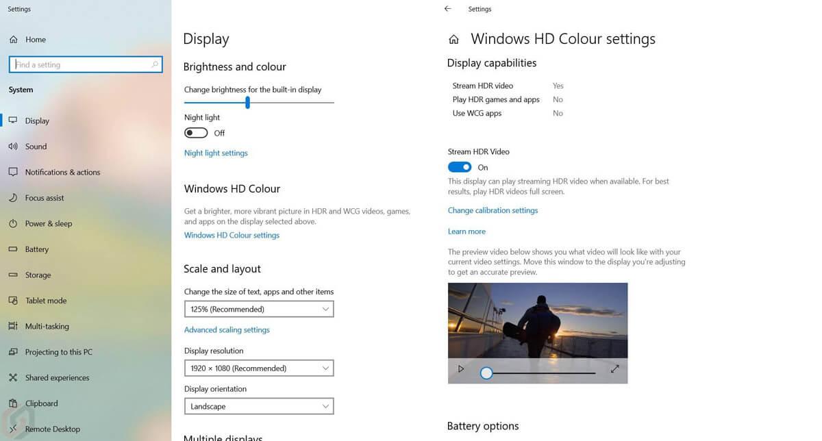 Chế độ màu HD của Windows