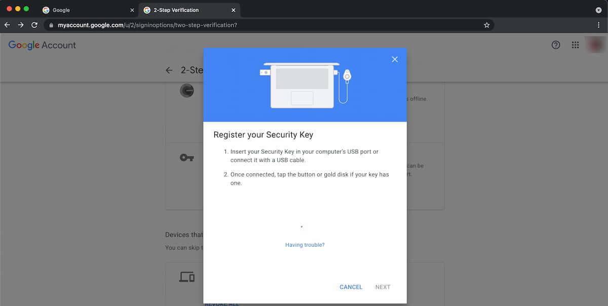 Đăng ký YubiKey vào Tài khoản Google