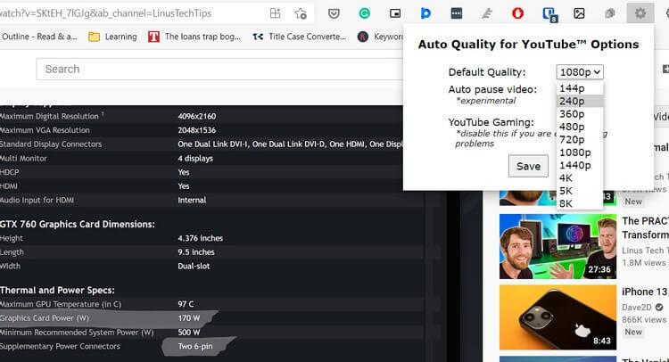 Cách đặt chất lượng video vĩnh viễn trên YouTube trong Google Chrome và Edge