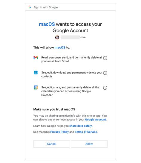 Cho phép macOS truy cập tài khoản Google của bạn trên Mac