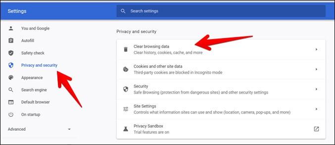 Google Chrome Xóa dữ liệu duyệt web