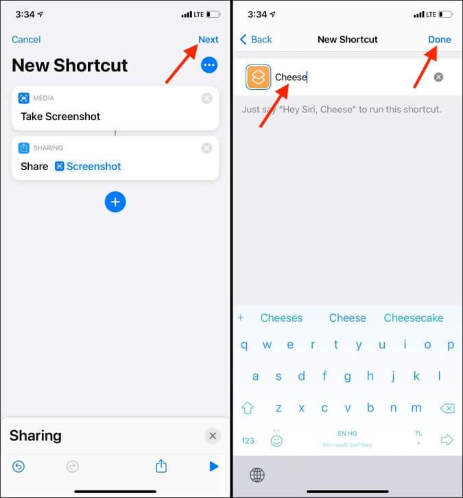 Nhấn vào Tiếp theo, nhập tên xong vào ứng dụng Phím tắt trong iOS 14