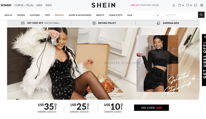 Trang web mua sắm trực tuyến: Trang web thời trang Shein