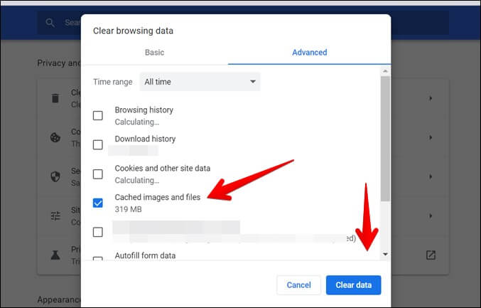 Google Chrome Xóa dữ liệu
