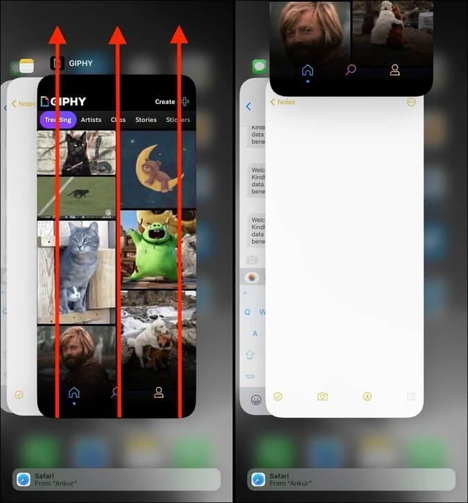Buộc đóng ứng dụng GIPHY và mở lại ứng dụng trên iPhone