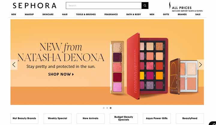 Trang web mua sắm trực tuyến: Sephora