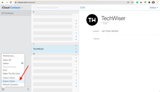 Xuất vCard trong iCloud Web để nhập liên hệ trên Mac