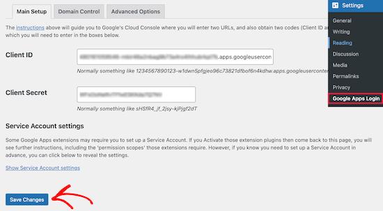 Nhập ID khách hàng và ID bí mật của khách hàng