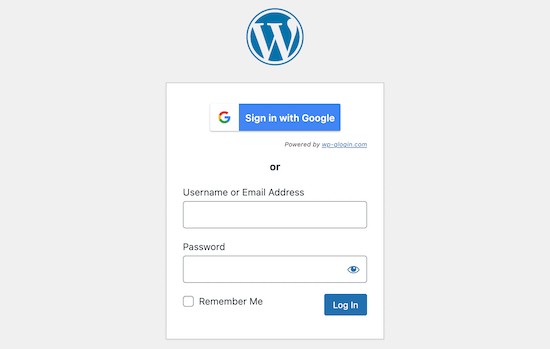 Tùy chọn màn hình đăng nhập Google
