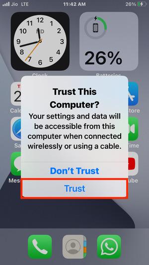 Mở khóa iPhone của bạn, nhấn Tin cậy và nhập mật mã