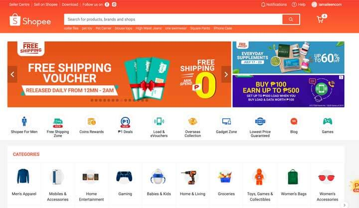 Trang web mua sắm trực tuyến: Shopee