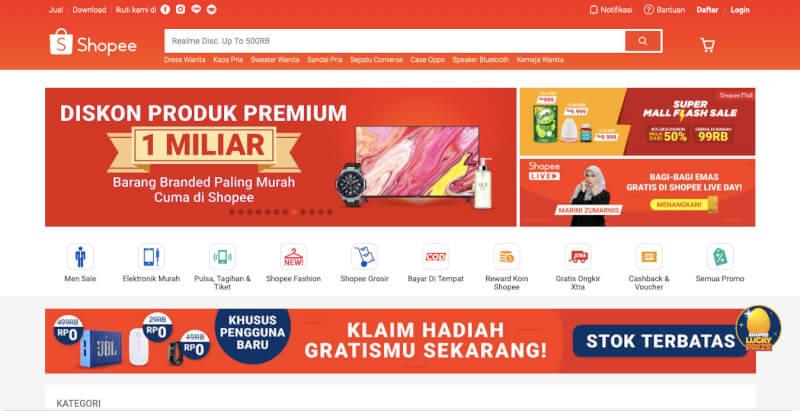 Trang web mua sắm trực tuyến Shopee Indonesia