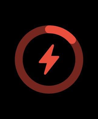 Ảnh chụp màn hình Apple Watch hiển thị trạng thái sạc với một tia chớp màu đỏ