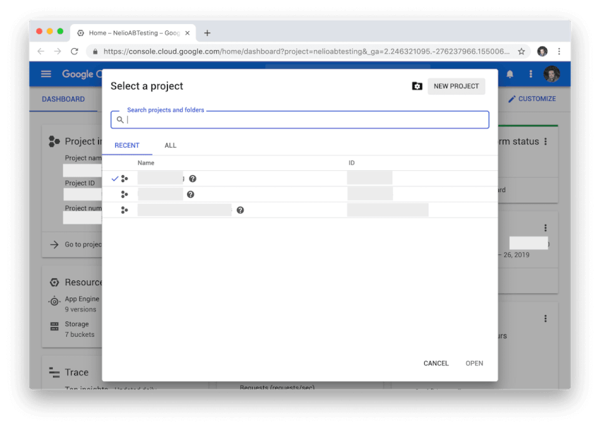 Màn hình chọn và tạo dự án trong Google Cloud.