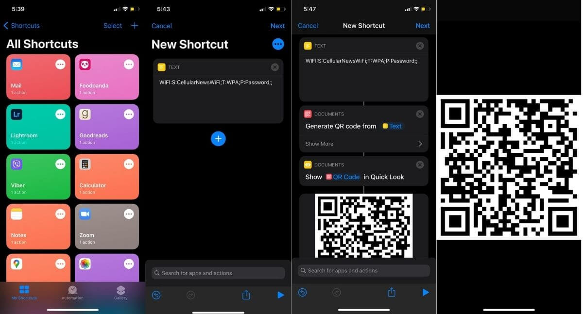 Tạo mã QR Wi-Fi trên Apple Shortcuts