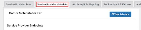 Nhấp vào menu siêu dữ liệu của nhà cung cấp dịch vụ