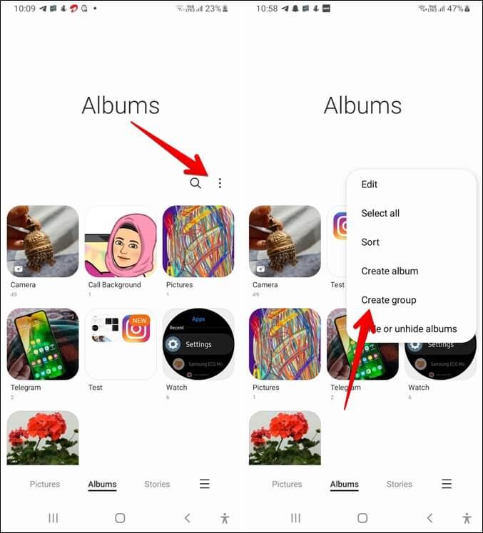 Thư viện Samsung Tạo nhóm album