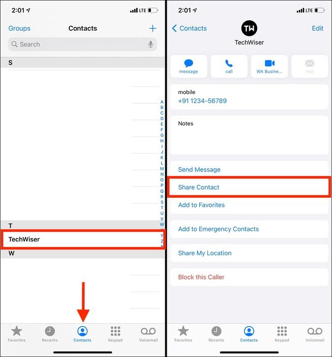 Chia sẻ số liên lạc trong danh bạ điện thoại để chuyển nó từ iPhone sang máy Mac