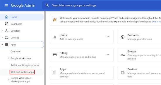Ứng dụng web và ứng dụng di động trên Bảng điều khiển dành cho quản trị viên của Google