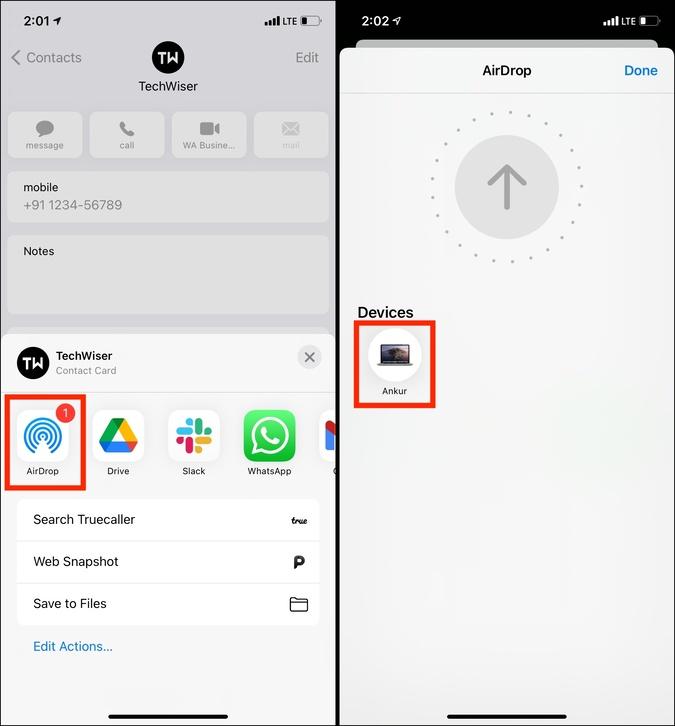 Nhấn vào AirDrop và chọn máy Mac để chuyển nó từ iPhone sang máy Mac