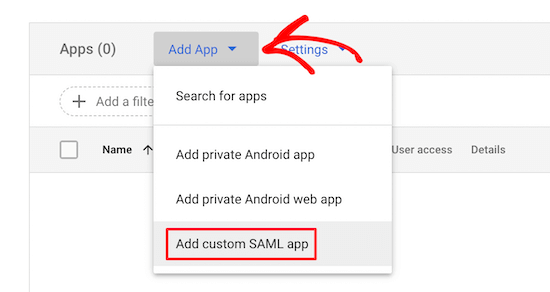 Thêm ứng dụng SAML tùy chỉnh