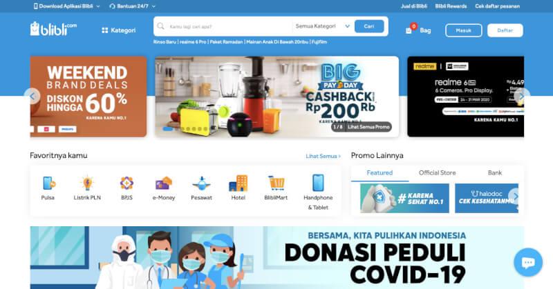 Trang web mua sắm trực tuyến Blibli Indonesia