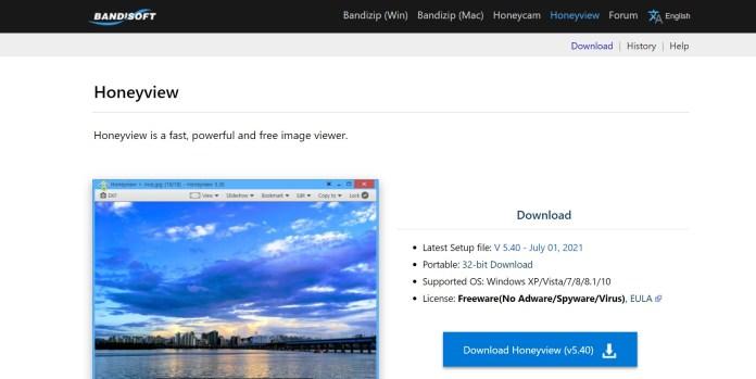 Phần mềm xem ảnh Honeyview dành cho HĐH Windows 11