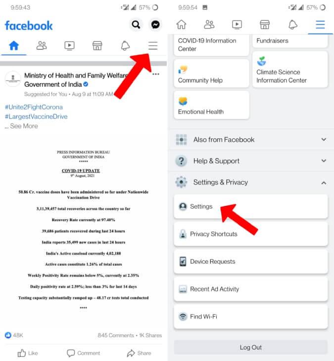 Mở cài đặt Facebook