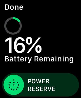 Ảnh chụp màn hình Apple Watch hiển thị thanh trượt Dự trữ năng lượng để tiết kiệm pin
