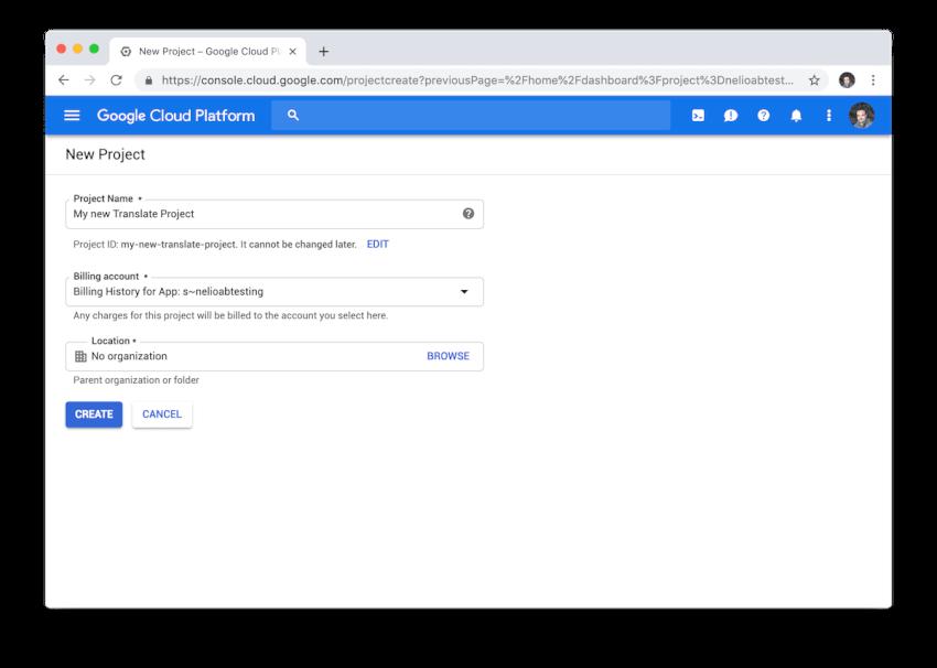 Chế độ xem tạo dự án mới trong Google Cloud.
