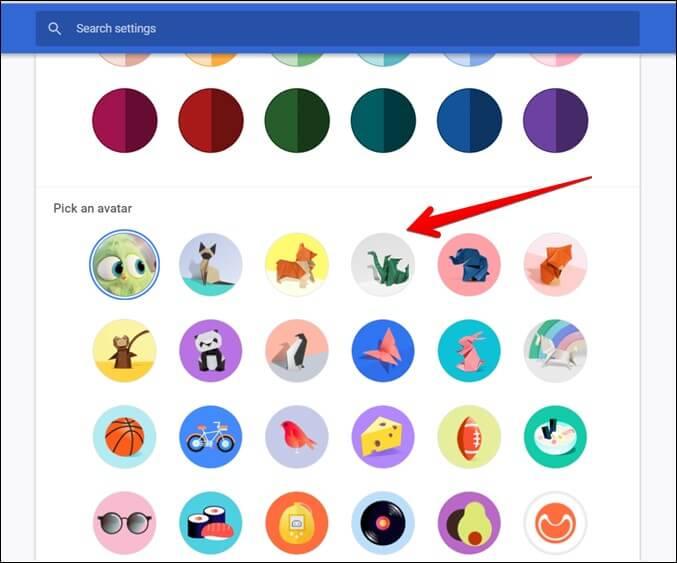 Google Chrome Chọn hình đại diện