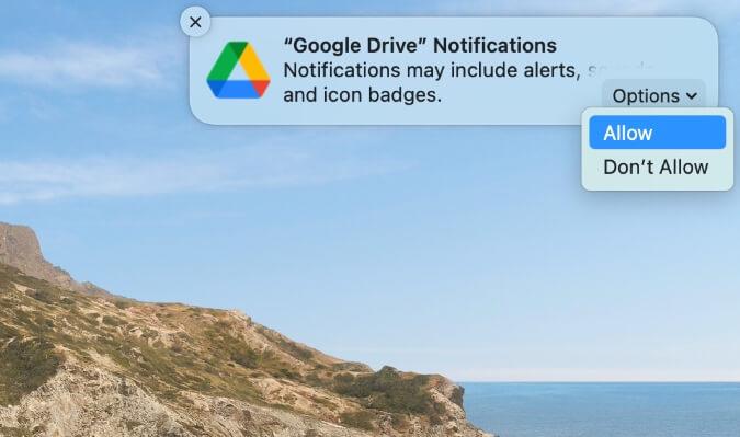 cho phép thông báo của google drive