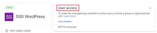Nhấp vào quyền truy cập của người dùng