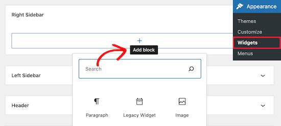 Thêm khối widget mới