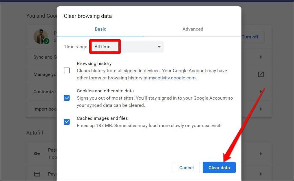 Xóa bộ nhớ cache của Google Chrome