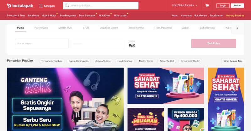 Trang web mua sắm trực tuyến Bukalapak Indonesia