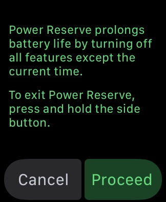 Ảnh chụp màn hình Apple Watch hiển thị lời nhắc chuyển thiết bị sang chế độ Dự trữ năng lượng